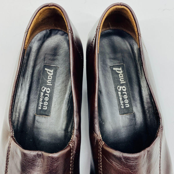 Paul Green Brown Leather Driving Flats Loafers Slip Ons Ladies Sz 6.5