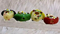 4 Lampwork Glass Bird House Beads w Flowers Handpainted DIY Crafts Jewelry I06