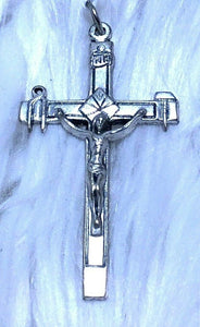 "Silver Toned Base Tools of the Cross Crucifix Rosary Jesus Pendant 2"" x 1"" D105"