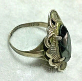 Antique Sterling Silver Marquise cut Hematite Ring D39