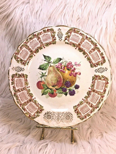 "Antique Carnation McNicol 1909 Calendar Plate 8.25"" Fruit on the vine Pears I23"