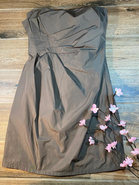 Studio M deep grey dress sz 10 strapless rouched side NWOT K13