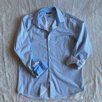 Van Heusen studio blue button front dress shirt SZ Lg L6