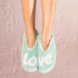 Love Is All You Need Footsies Slippers Aqua