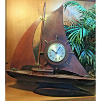 The Sessions Co Vintage Wood Sea Sailing Ship Boat Electric clock