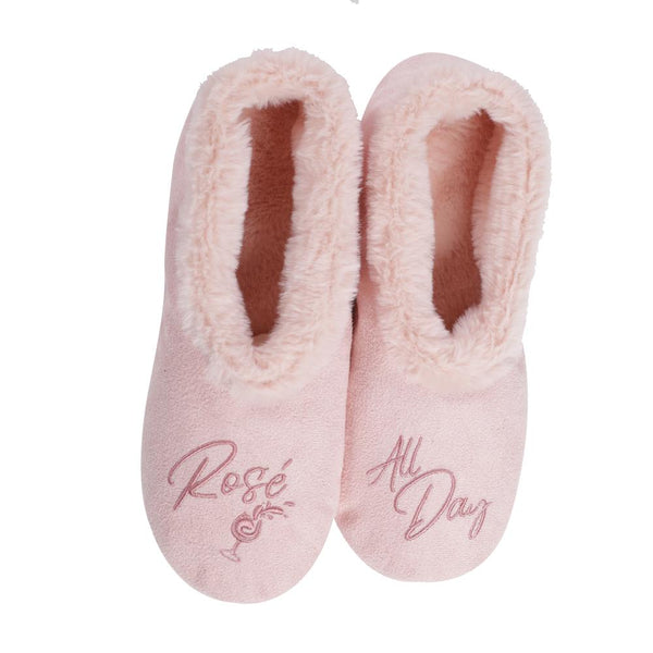 Rosé All Day Footsie Slippers Pink