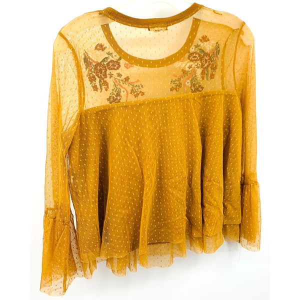 Mustard LS Blouse Embroidery Bell Sleeve