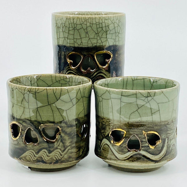 "VTG Somayaki Tea Cups 4"" (3) Cups Double Wall Insulated Heart Cut Out Green Crackle Glaze Gold"