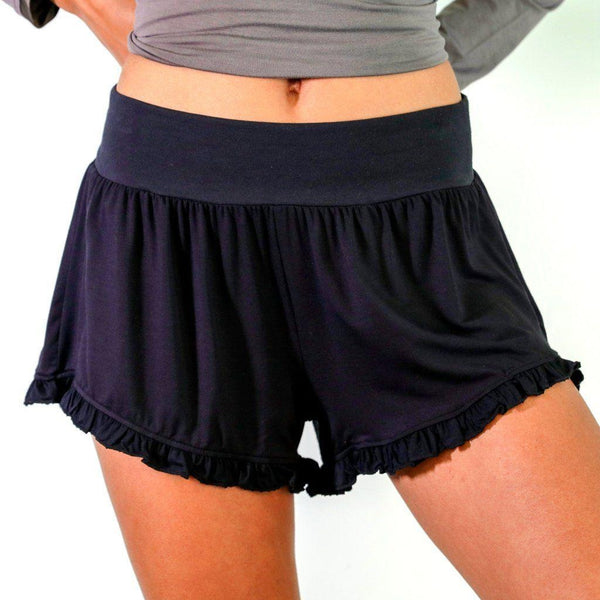 FFaceplant Bamboo® Ruffled Shorts Snuggly Sexy Flirty Moisture Wicking BLK LG
