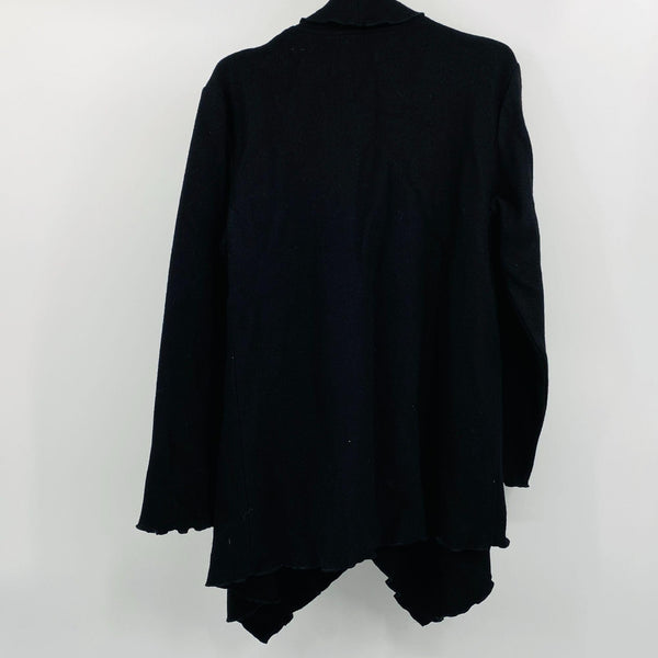 Black Boiled Wool Jacket Coat Cover Up Front Button by Venario XL