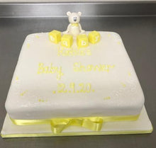 Load image into Gallery viewer, Teddy with Baby Blocks Celebration cake.