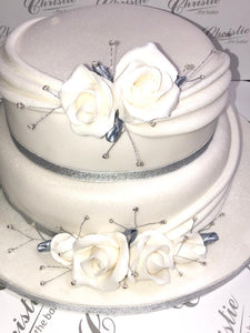 Two Tier Swags and Roses Celebration Cake