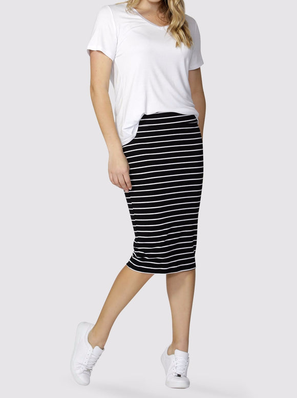 BETTY BASICS Alicia Midi Skirt Black & White Stripe