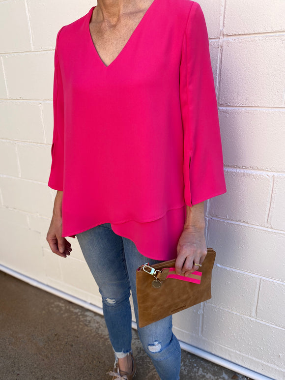 Joseph Ribkoff V Neck Flute Sleeved  Shirt Hot Pink