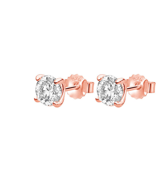 Petites 6mm White Topaz Stone Earrings Set in Rose Gold Plate