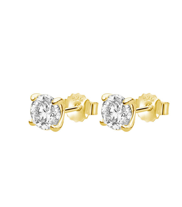 Petites 6mm White Topaz Stone Earrings Set in Yellow Gold Plate