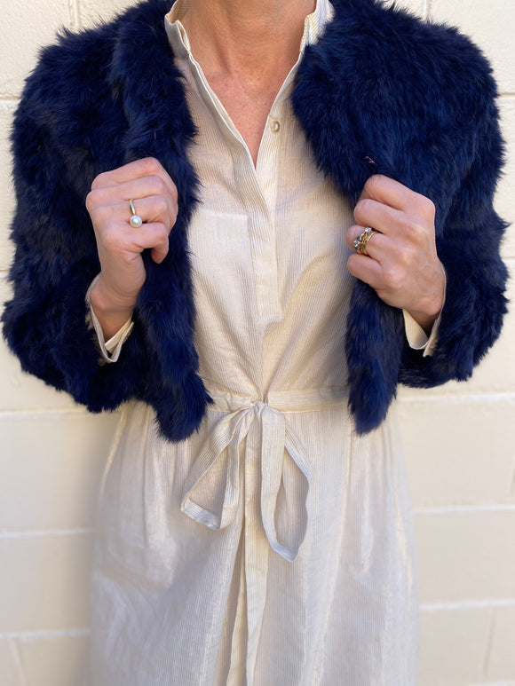 bubish  audrey Fur Jacket Navy