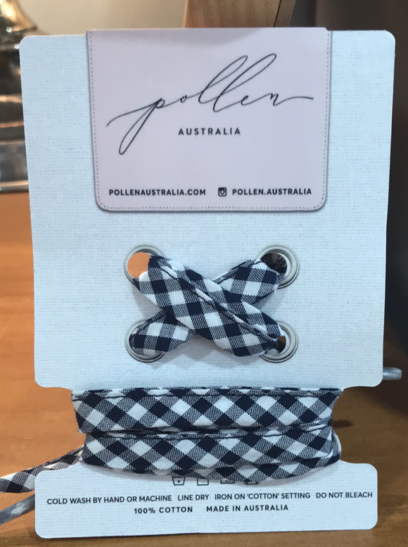 Pollen  Fabric Shoelaces Navy Gingham