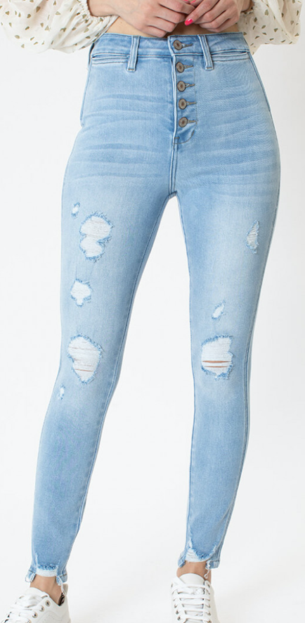Exposed Button High Rise Super Skinny Jean
