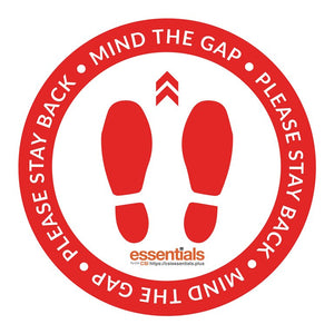 "Mind The Gap Floor Stickers - Red 18"" Set of 6"