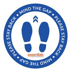 "Mind The Gap Floor Stickers - Blue 12"" Set of 6"