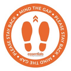 "Mind The Gap Floor Stickers - Orange 12"" Set of 6"