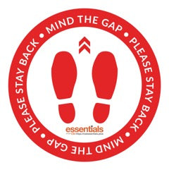 "Mind The Gap Floor Stickers - Red 12"" Set of 6"