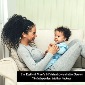 Mother with long curly hair holding her son, The Resilient Mum's Independent Mother Package