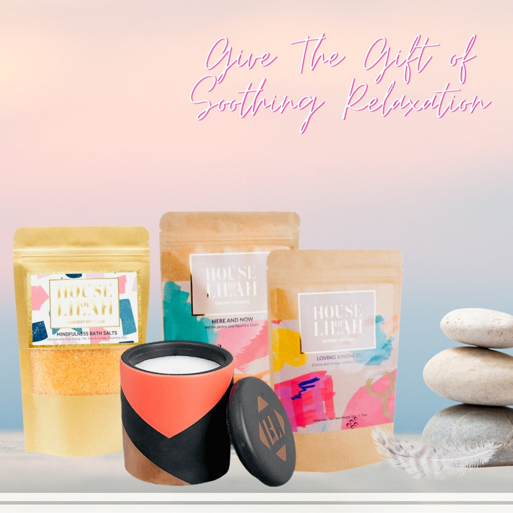House of Lilah - Mother's Day Soothing Relaxation Gift Set - Concrete Soy Candle, 2 x Tea & Bath Salts