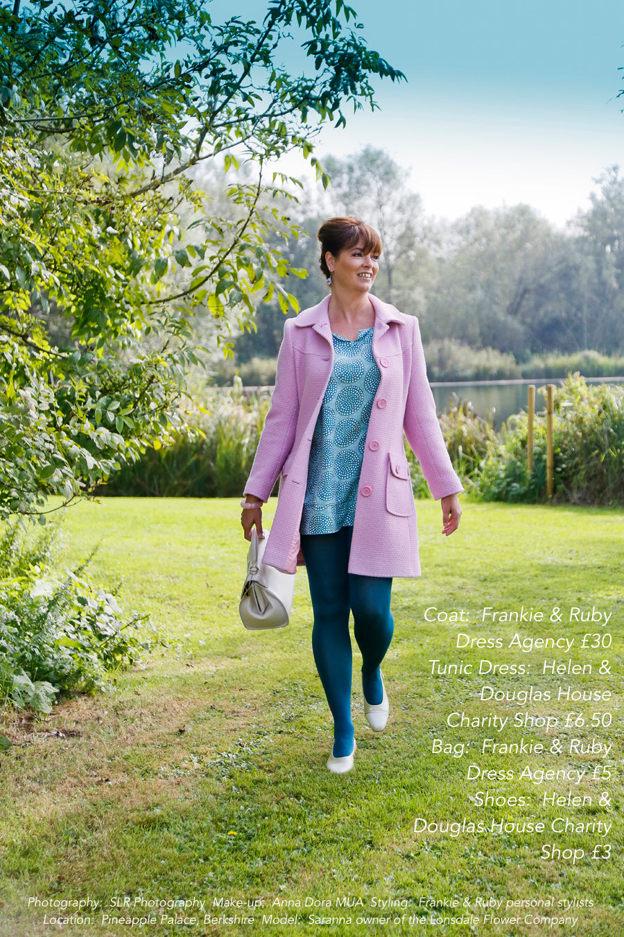 A model in a pink coat wearing secondhand clothes