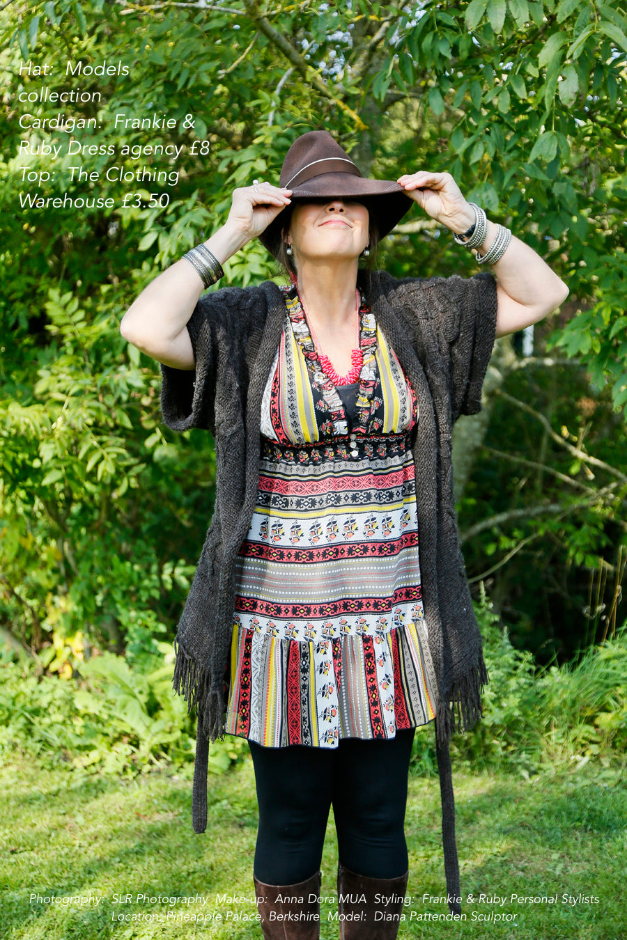 A model in a folk dress wearing secondhand clothes
