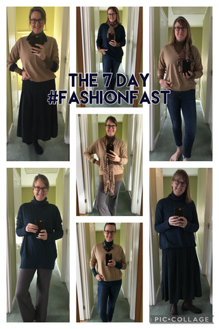Seven different outfits from the fashion fast capsule wardrobe challenge