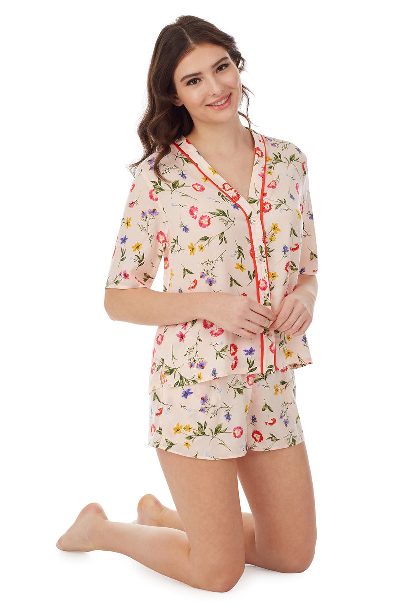 Pink Floral Short Sleeve Button Down & Boxer Pj Set