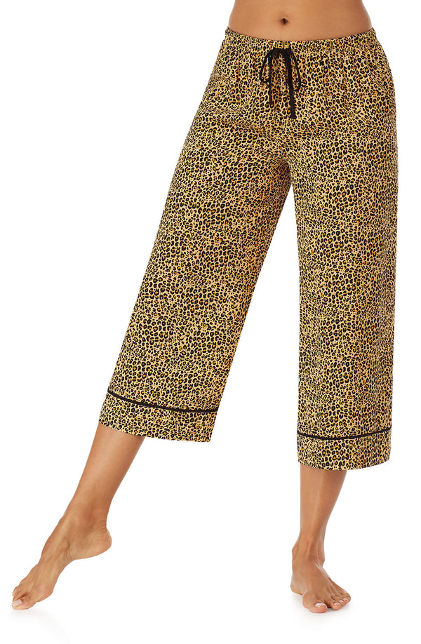 Animal Print Satin Crop Pj Pant
