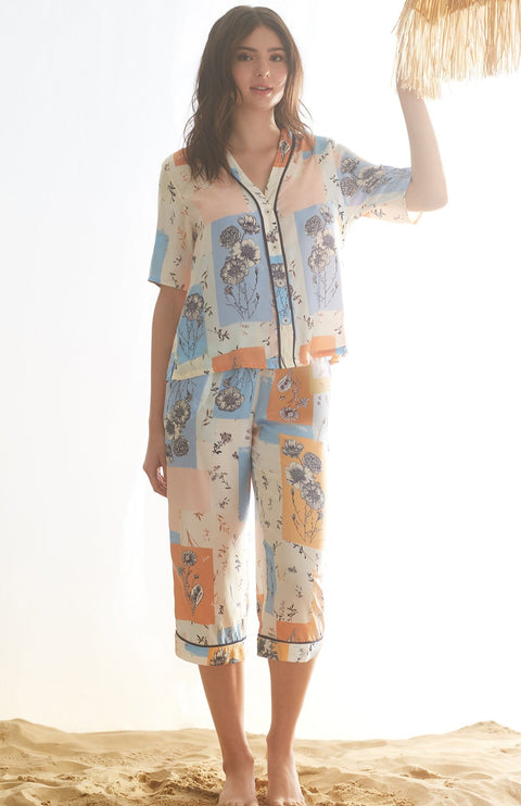 Multi Patchwork Short Sleeve Button Down & Crop Pant Pj Set