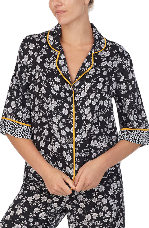 3/4 Sleeve Notch PJ Top