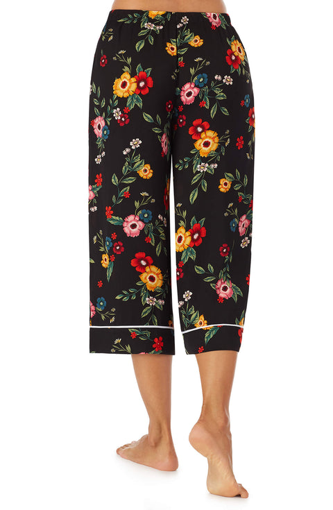 Black Floral Satin Crop Pj Pant