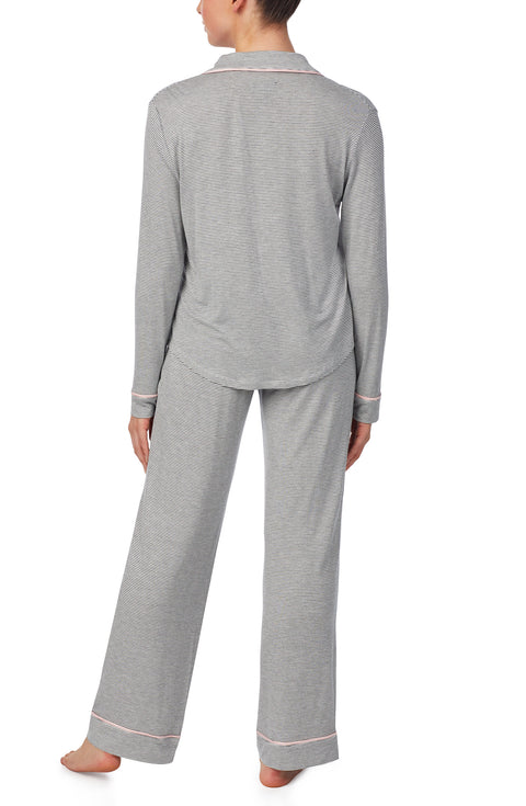 Long Sleeve Notch Pj Set With Eyemask