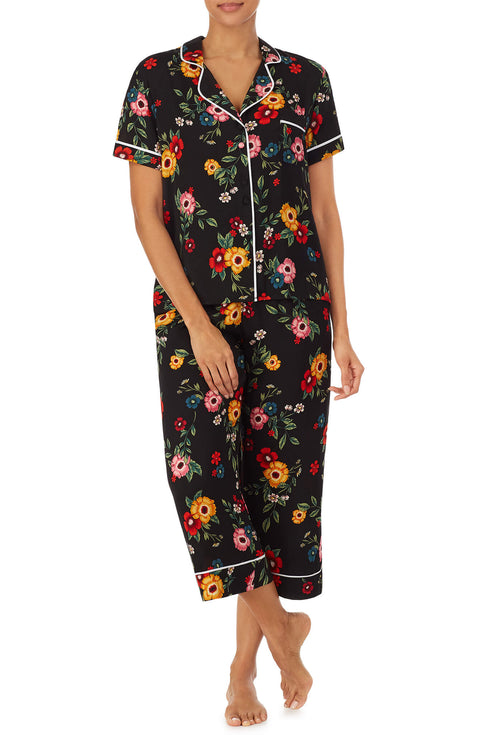Black Floral Satin Notch Pj Top