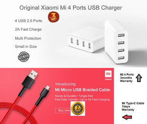 Mi 4ports USB Wall Charger 3months Local warranty and Mi Type C Braided Cable 7days Local Warranty