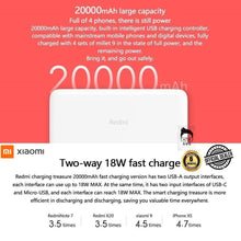Load image into Gallery viewer, Redmi 20000mAh 18w Powerbank Fast Charging Dual Input & Output USB-C with 6months local warranty