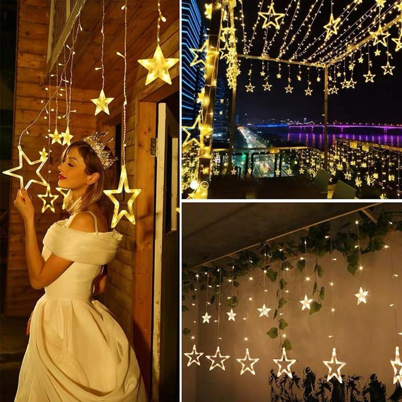 Remote Control Solar-Powered LED Moon&Star String Lights - Ren's Homelights