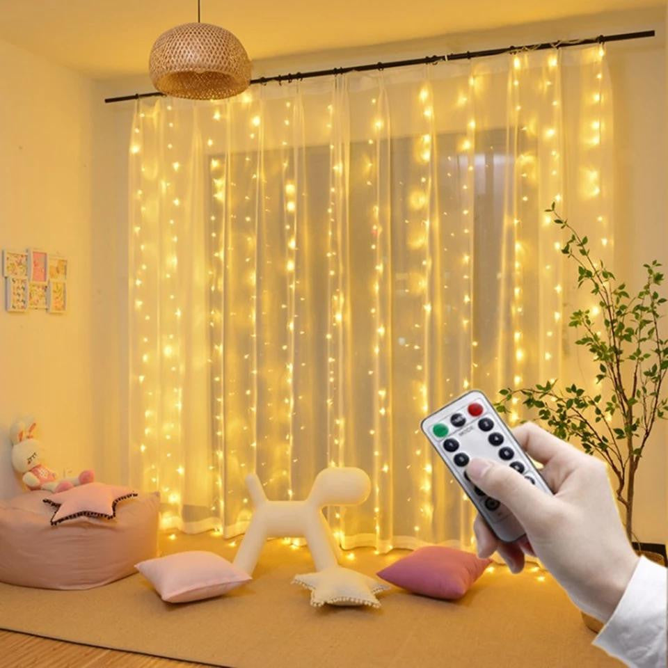 Christmas Decoration - RC USB Curtain String Lights - Ren's Home