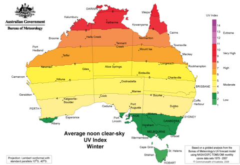 Map of Australia showing UV levels in winter