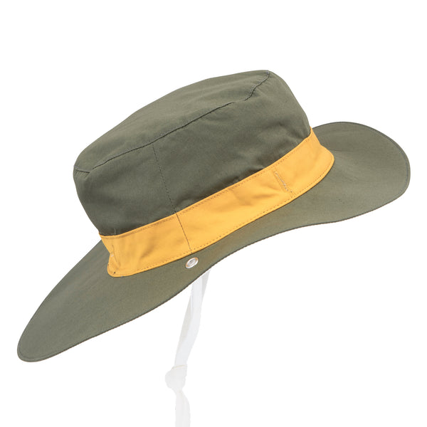 Side view of khaki children's sun hat  with yellow band