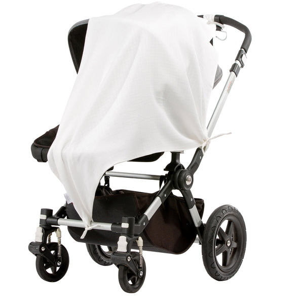 Musluv Classic White Baby Sun Cover on stroller