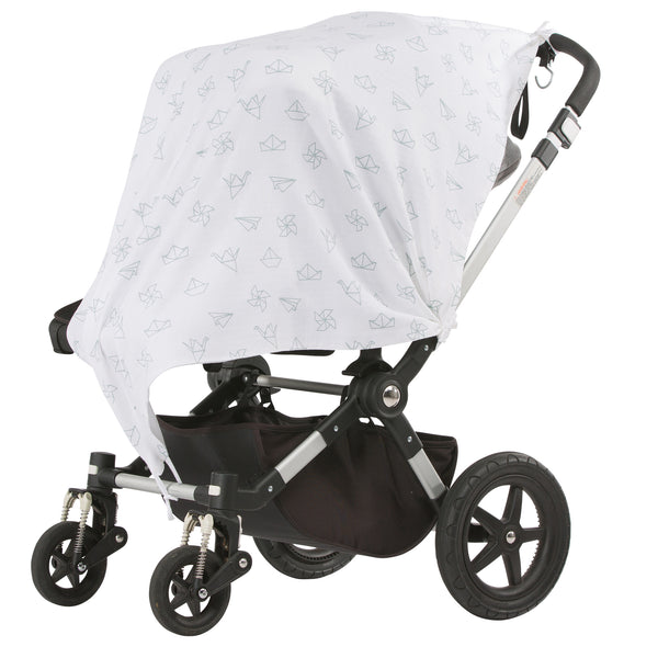 Paper Salad Grey Musluv Baby Sun Cover on stroller
