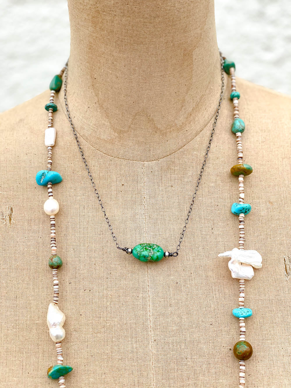 48in Multi Turquoise Pearl and Heishe Long Necklace