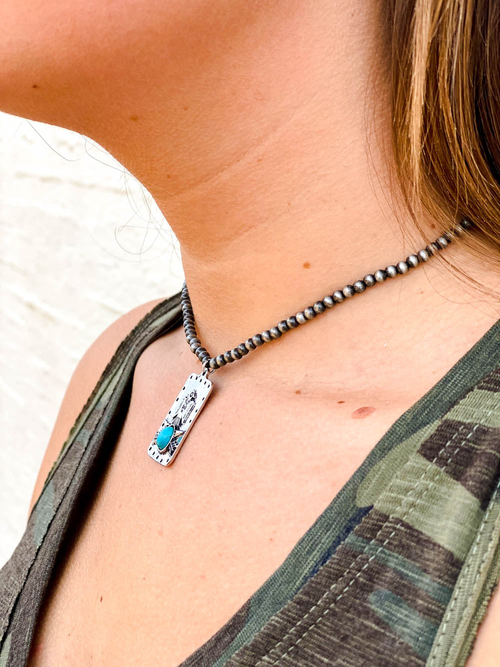 13in Smoke Pearl Necklace with Turquoise Thunderbird Pendant