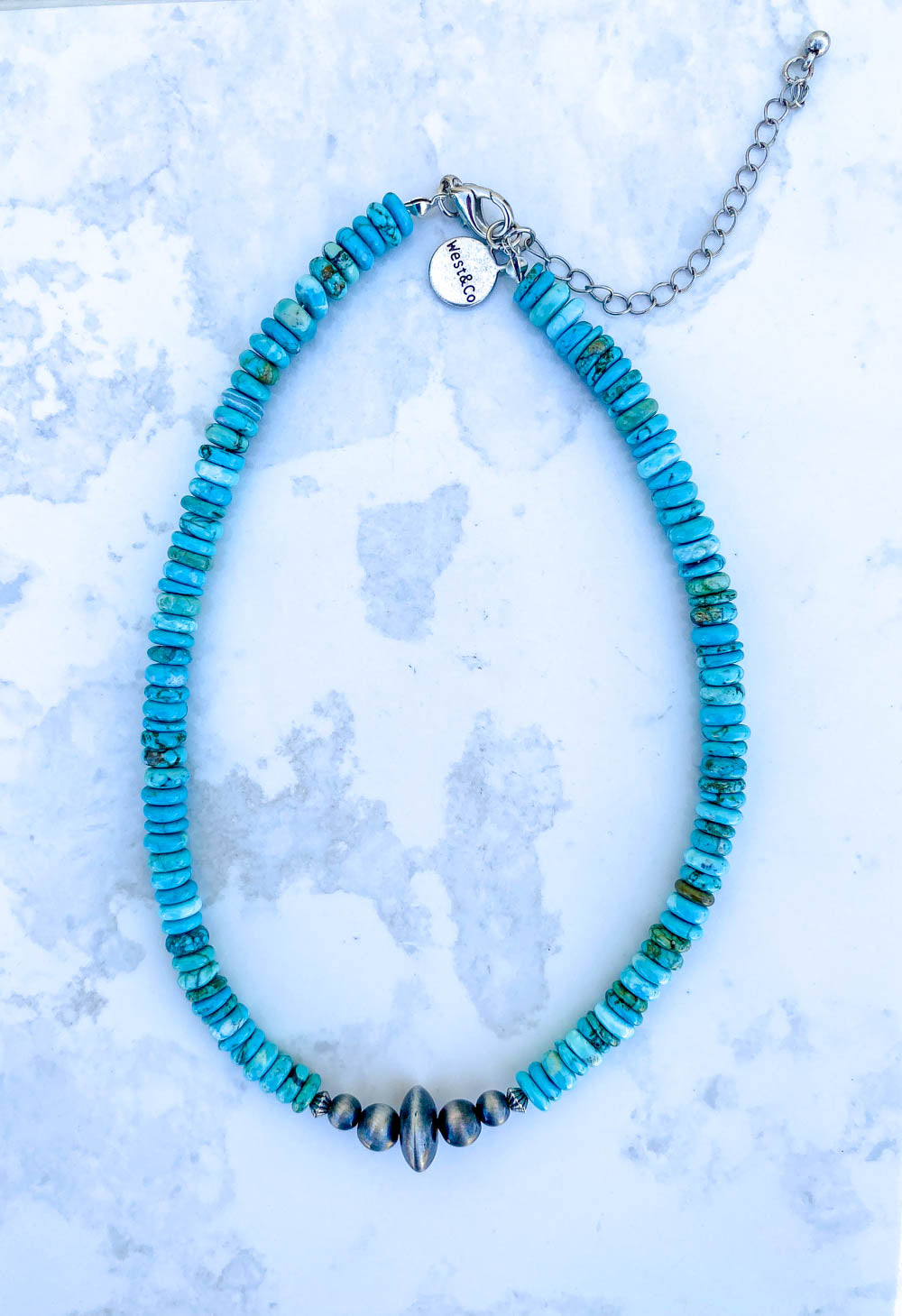 14in Natural Turquoise Beaded Choker with Smoke Pearl Accent